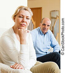 Mature couple after quarrel at home - Senior mature wife and...