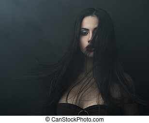 mysterious portrait of a girl in dark fog - mysterious...