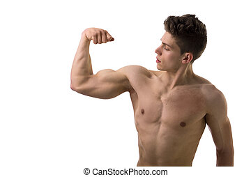 Handsome bodybuilder doing bicep pose, isolated - Handsome...