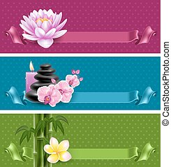 SPA - Vector banners on spa theme with bamboo, massage...