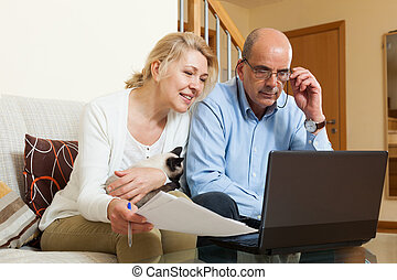 Mature couple with laptop in home - Smiling mature couple...