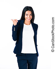 Happy businesswoman with thumb up - Happy businesswoman...