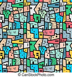 Brazilian favela Bright colored seamless pattern Vector...