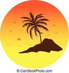 tropical island - vector, tropical island at sunset,nature...