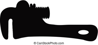 pipe wrench - vector silhouette of pipe wrench against white...