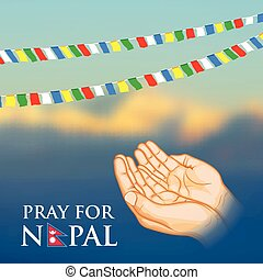 Nepal earthquake 2015 help - illustration of Nepal...