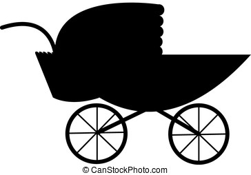 baby carriage - vector, black silhouette of baby carriage...
