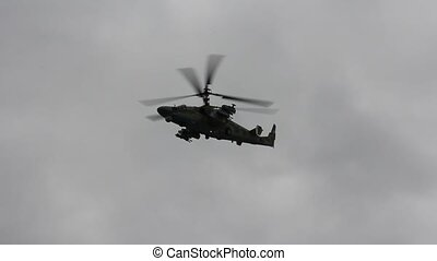Russian army helicopter Ka-52, alligator performing...