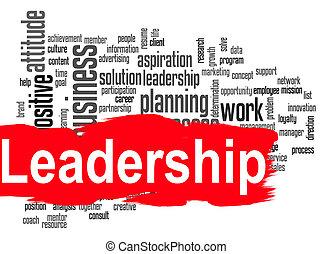 Leadership word cloud with red banner - Leadership word...