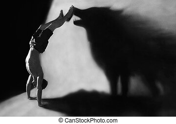 handstand with wolf silhouette - Photomanipulation -...