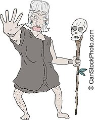 old woman draw - Creative design of old woman draw