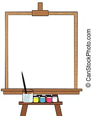Drawing board and Equipment on white background