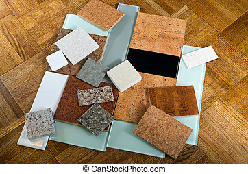 Cork quartz glass tiles and wood