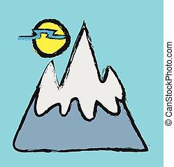 doodle landscape mountains, vector