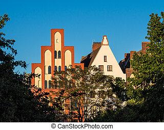 Historical building in Rostock (Germany).