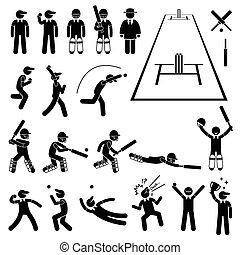 Cricket Player Actions Poses
