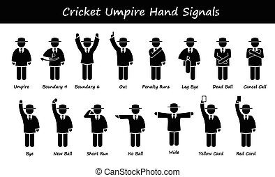 Cricket Umpire Referee Signals - A set of stickman...
