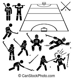 Field Hockey Player Cliparts - A set of stickman...