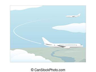 Phases of a flight Climbing and approach Vector illustration...
