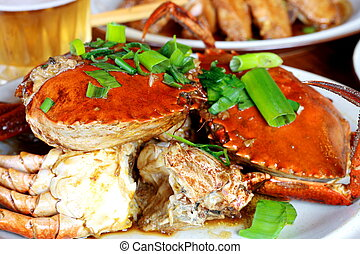chinese cooked crab - a dish of cooked crab chinese style