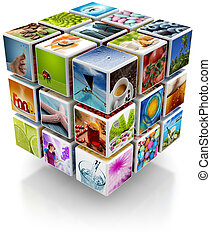 photo cubical collage - cubic structure with colorful...