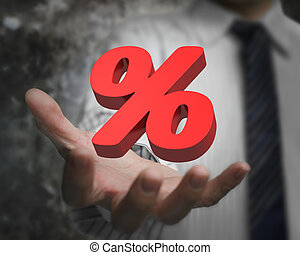 Man hand showing 3D red percentage sign
