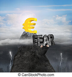 Man carrying fear toward euro symbol peak with sunny stormy...