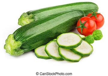 fresh zucchini with cherry tomatoes and basil - zucchini,...