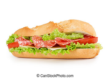 salami sandwich - sandwich with salami, cheese, tomato and...