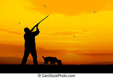 Hunter - Illustration of hunter and hound silhouettes on...