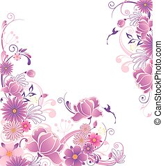 Floral background with pink and violet flowers
