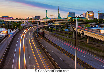 Sunset View over Interstate 5 in Portland Oregon - Sunset...
