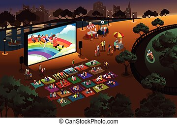 People watching outdoor movie in a park - A vector...