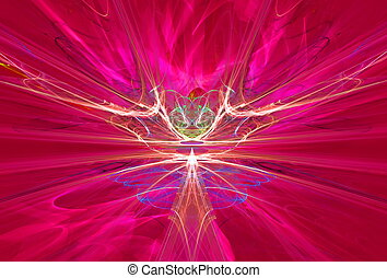Mysterious alien form magnetic fields in the red sky. Fractal art graphics