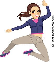 Sporty Jumping Dancing Girl - Beautiful brunette sporty...