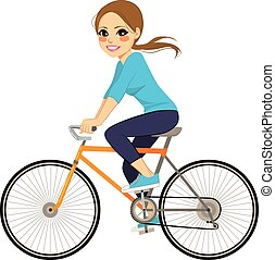 Girl On Bicycle - Beautiful young girl riding bicycle happy...