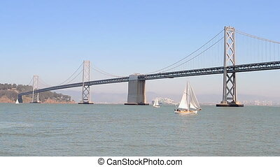 San Francisco, Bay Bridge, USA - Bay Bridge in sunny day in...