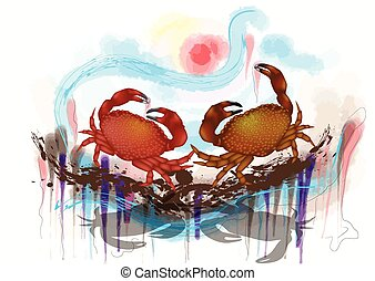 dancing crabs. two crabs on abstract grunge background