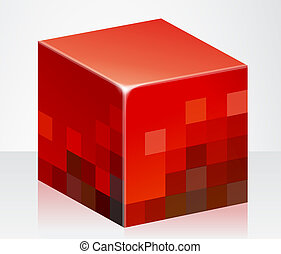 red cube - illustration drawing of a beautiful red cube