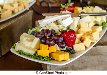 Fruit and Cheese Tray on Display - Tray of assorted fruit...