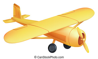 airplane - drawing of beautiful yellow airplane in a white...