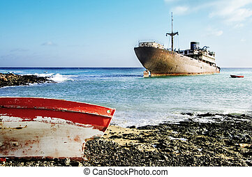 two ships in the shipyards, Lanzarote in the Canary Islands