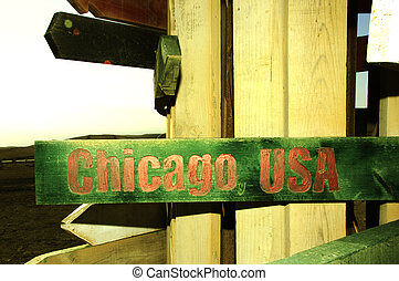 wooden sign with the city of Chicago, USA