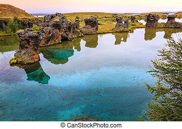 Lake Myvatn - Volcanic rock formations in Lake Myvatn in...