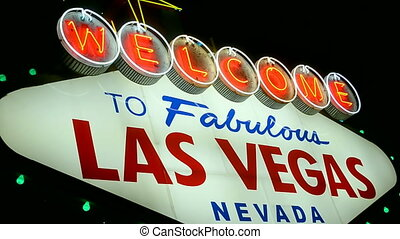 Las Vegas sign, Nevada, USA - Las Vegas sign on the Las...