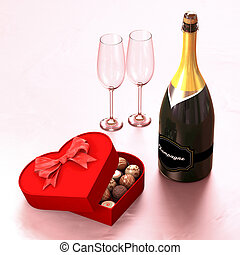 Chocolate box with a champagne and two glasses. This...