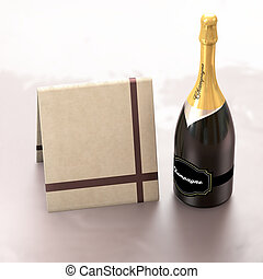 Greeting card with copy left and champagne. - This...