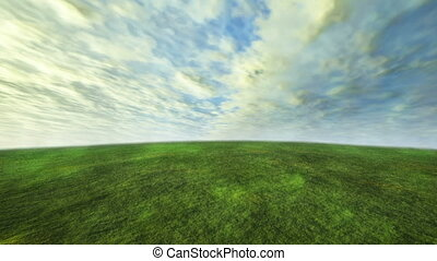 3D cloud and grass time lapse with green concept