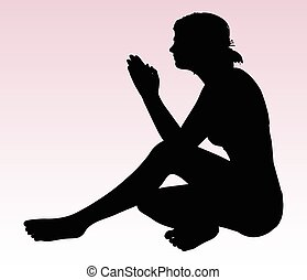 woman silhouette with hand gesture praying - Vector Image -...