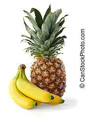 Fresh isolated ananas and bananas - Fresh pineapple and...